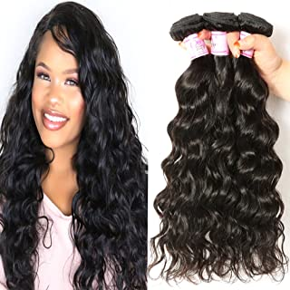 Beauty Forever Hair Brazilian Natural Wave Virgin Hair Weave 3 Bundles 100% Unprocessed Human Hair Extensions Natural Color 95-100g/pc (16 18 20)