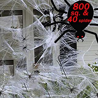 Spider Web Decorations, Large Spider Halloween Web Decorations with 40 Halloween Spider Outdoor/Indoor,Use for Halloween S...