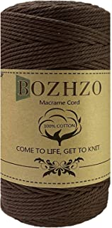 BOZHZO Makramee Garn, 3mm x 200m Kordel, Baumwollgarn Baumwollkordel 100% Naturliches Baumwolle Super für Anfänger, Gartenarbeit, Kochen, Basteln und Mehr DIY Dekoration Braun