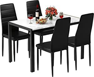 MIERES 5-Piece Faux Marble Kitchen Table & Chair Set, 4 PU Metal Frame Chairs for Small, Modern Compact Space for Home, Breakfast Nook,Cafeteria Dining Room w/Storage Racks, White