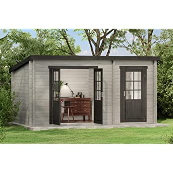Carlsson Alpholz Maria - Casa de jardín de madera maciza con 28 mm de grosor de pared, incluye material de montaje, tamaño: 450 x 250 cm, techo: Amazon.es: Jardín