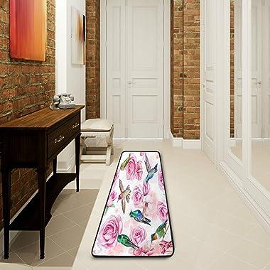 Ombra Long Runner Rug Rose Magnolia Flower Hummingbird Area Rug 2'x6' Non Slip Hallway Carpet Runner Mat for Living R
