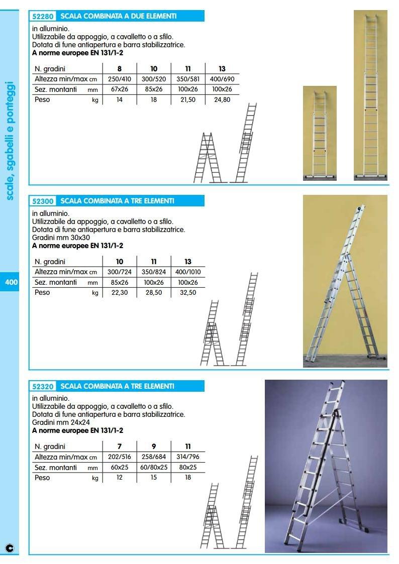 Escalera Aluminio 3 X 9 gr MT.2,58 – 6,84 unidades de 1pz: Amazon.es: Oficina y papelería