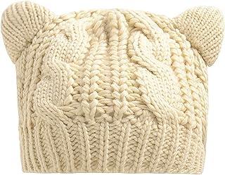 Zgllywr Women Cat Ears Knit Beanie Hat