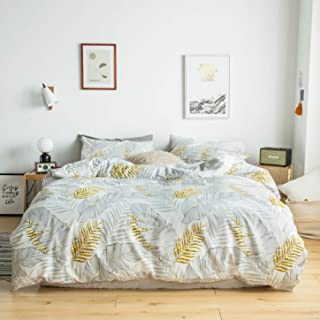 YuHeGuoJi 3 Pieces Duvet Cover Set 100% Cotton White King Size Gold Botanical Bedding Set 1 Tropical Leaf Print Duvet Cover with Zipper Ties 2 Pillowcases Luxury Quality Soft Comfortable Breathable
