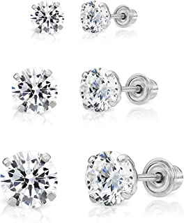 14k Gold Solitaire Round Cubic Zirconia Stud 3 Pair Earring Set (3mm, 4mm, 5mm)