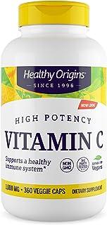 Healthy Origins Vitamin C 1,000 mg (Non-GMO Tested, High Potency, Immune Support, Vegan), 360 Veggie Caps