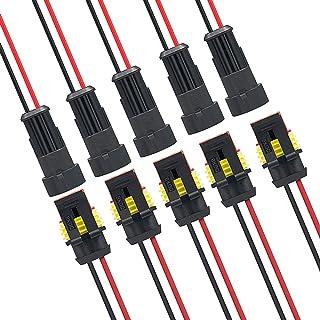 MWOHN Way Auto Wasserdichter elektrischer Steckverbinder, 10 Set 2 Polig Wasserdichte Kabel Steckverbinder Stecker mit Draht für Motorrad, Auto