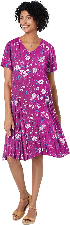 Woman Within Women's Plus Size Short Crinkle Dress