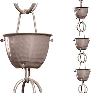 Monarch Aluminum Hammered Cup Rain Chain, 8-1/2 Feet Length (Musket Brown)