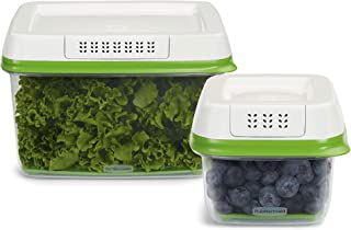 Rubbermaid 1920521 FreshWorks Produce Saver Food Storage Containers, 2-Piece Set, Green