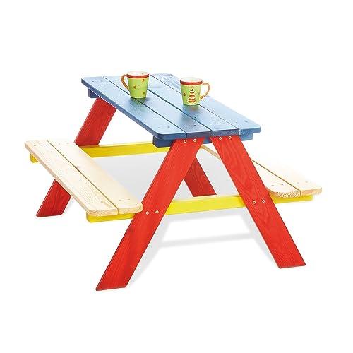 e148e8a678 PINOLINO, Tavolino da Picnic per Bambini per 4, 2 panche e 1 Tavolo
