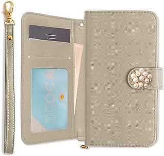 Huawei nova lite 3 手帳型 可愛い パール 花 ストラップ付 カバー (ライトグレー) SIMフリー