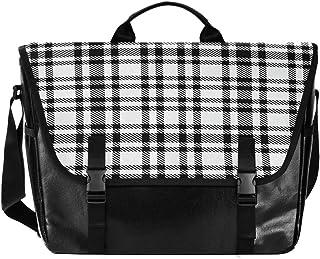 Bolso de cartero de lona a rayas blanco y negro a cuadros, unisex, de 15,6 pulgadas, estilo retro, para negocios, bolso de...