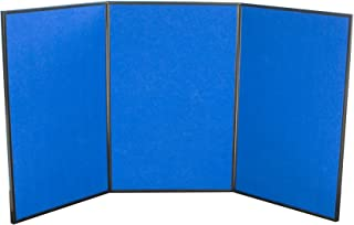Displays2go Tri Fold 3-Panel Display Board, 72 x 36 Inches, with Blue Velcro-Receptive Fabric and Write-On Whiteboard (3PV7236BLU)