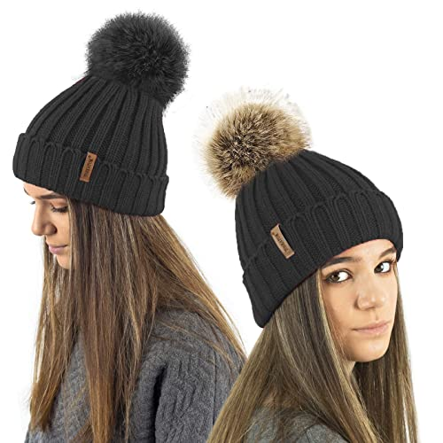 TOSKATOK® Ladies Girls Chunky 3 in 1 Rib Beanie Hat with 2 Interchangeable  Large Faux cedff1a0c6f