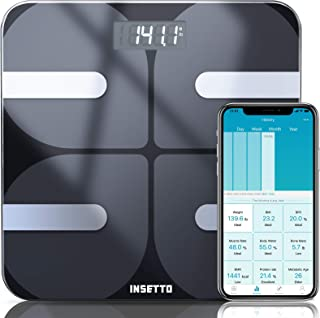 INSETTO Smart Body Fat Scale, 11.8 inch Digital Scales for Body Weight and BMI for People, Analyzer with Smartphone App fo...