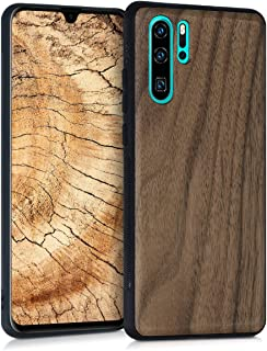 kwmobile Wooden Cover for Huawei P30 Pro - Hard Case with TPU Bumper - Walnut, Dark Brown