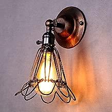 LEMONBEST Vintage Retro Edison Birdcage Style E27 Wall Light Sconce Fixtures Industrial Mini Wire Cage Lamp Holder (Metallic)