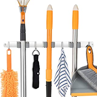 Stainless Steel Wall Mount, Broom Mop Holder Heavy Duty Tool Storage Organization, Screws Drilling Or Self-adhesive Instal...