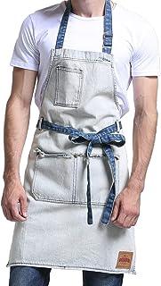 VANTOO Denim Artist Apron with 3 Pockets for Men Women-Jean Painting Salon Apron-Adjustable Neck Strap-Extra Long Ties for Friends Families,White