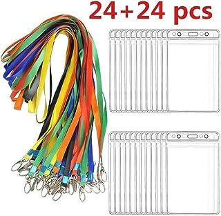 BUYGOO 24 Piezas Vertical Insignia de Identificación PVC Flexible Transparente Colgantes de Tarjetas de Identificación con...