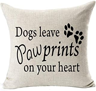 Andreannie Best Dog Ever Dog Leave Paw Prints On Your Heart Cotton Linen Decorative Throw Pillow Cover Cushion Case Square...