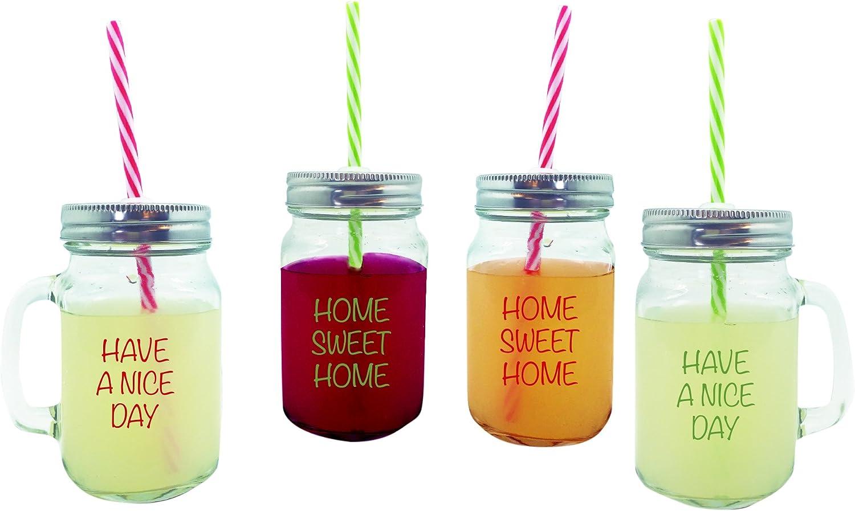 NERTHUS FIH 100 - Set 4 jarritas de limonada, Paquete de 4 vasos con tapa, manija y paja Pajita Vasos de vidrio Vaso de agua Cóctel 450 ml Tarro de bebida Vintage Retro