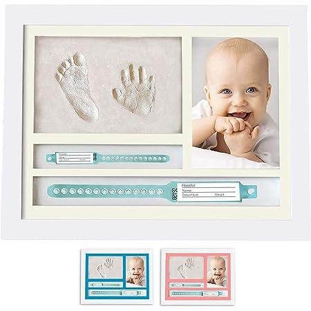MUBY, Set de marco de foto y huellas bebe   Regalos originales para bebes recien nacidos   Ideal Regalo Bebes   Puerta pulsera bebe recien nacido   Regalos originales para padres primerizos