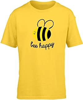 Hippowarehouse Bee Happy Kids Children's Short Sleeve t-Shirt