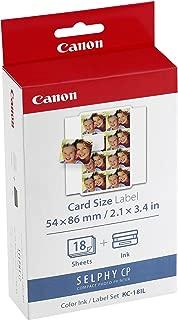 Canon SELPHY KC18IL Color Ink Cassette, 54 x 86 mm Label Set (18Sheets)