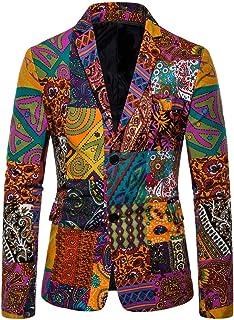 Cardith Vintage Ethnic Printed Mens Casual Dress Floral Suit Slim Fit Blazer Jacket