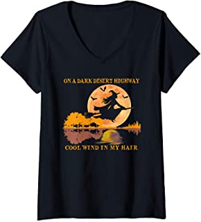 Womens Cute Witch On A Dark Desert Highway Cool Wind In My Hair V-Neck T-Shirt