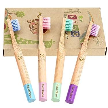 Bamboo Toothbrush - Comfine Biodegradable Reusable Toothbrush, Bamboo Toothbrush Made Of Natural bamboo and Environmentally Friendly BPA-Free Bristles, Teeth Whitening, 8 pack