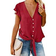 Women's Summer Deep V Neck Flutter Sleeve Button Down Front Tie Casual Tops Shirts and Blouses