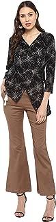 Janasya Women's Black Rayon Top With Trouser