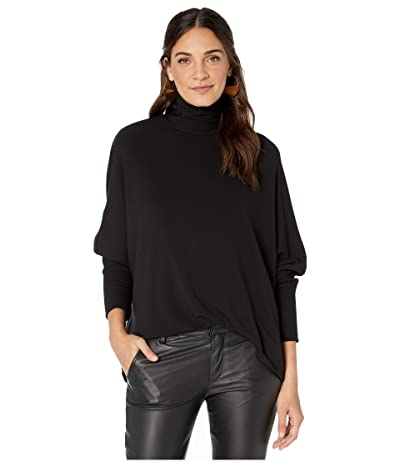Majestic Filatures French Terry Long Sleeve Relaxed Turtleneck Top (Noir) Women