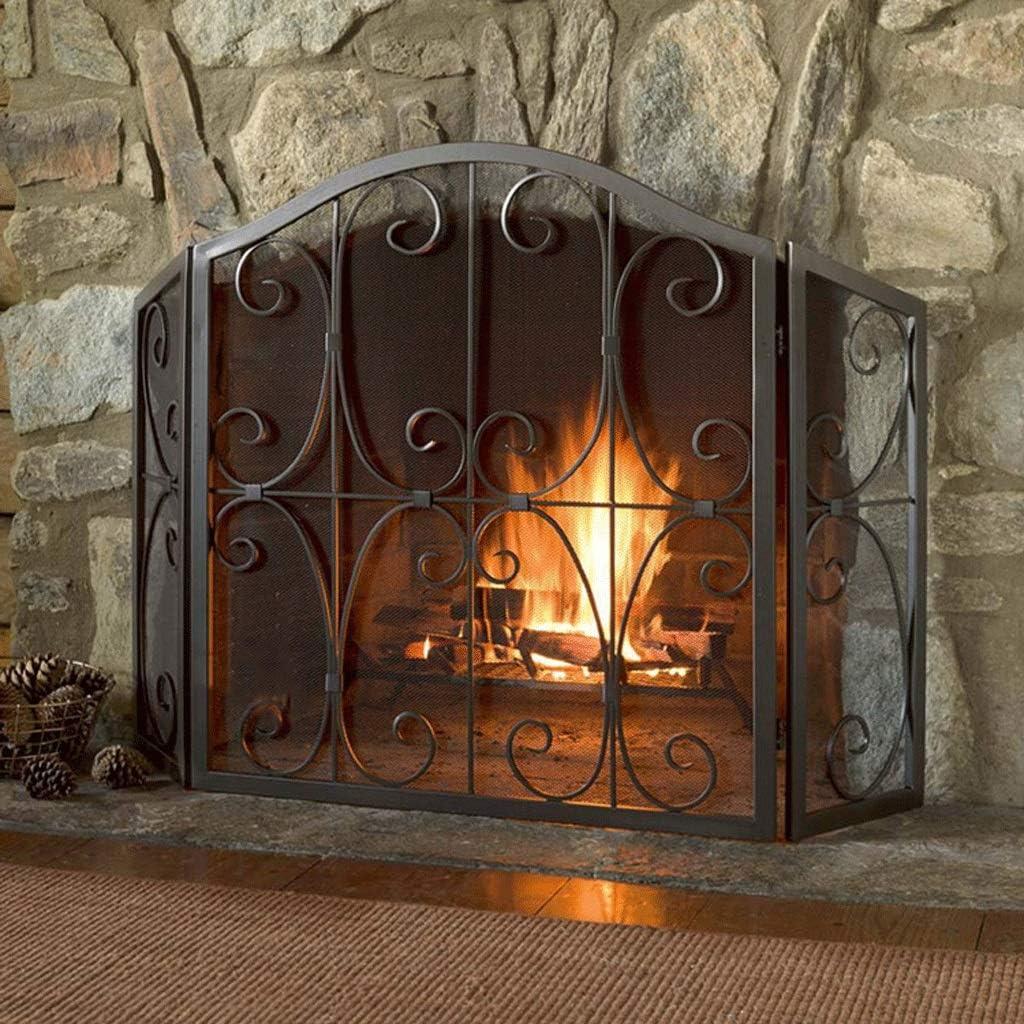 Salvachispas chimenea 3 PCS panel plegable de hierro fuego,chispa de la llama de barrera,Ancho de cocción de malla metálica de seguridad Guardia chimenea for leña y carbón,cocinas,parrillas Salvachisp