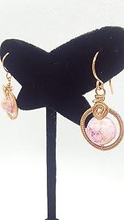 Aretes Rosa claro Ágata bola con decorado en alambre hechos a mano