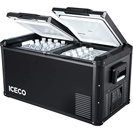 ICECO VL75 ProD Portable Refrigerator, Multi-directional Lid, Dual USB & DC 12/24V, AC 110-240V, 75L Dual Zone Steel Compact Refrigerator Powered by SECOP, 0℉ to 50℉, Home & Car Use [Upgrade, 79 Quarts]