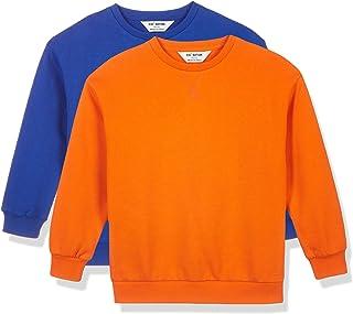 Kid Nation Kids Unisex 2 Packs Cozy Fleece Drop Shoulder Sweatshirt Long Sleeve T Shirts 4-12 Years