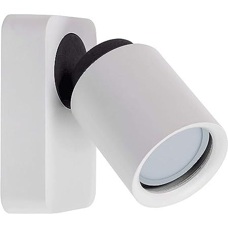 MW-Light 545020401 Spot Intérieur Orientable Pivotant Design Moderne en Métal Blanc et Gris pour Salle de Bain Chambre Cuisine Couloir Escalier 1x50W GU10 incl.