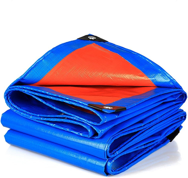 CHAOXIANG Tarpaulin Waterproof Heavy Duty Thicken Waterproof Rainproof Sunscreen Insulation Awning PVC, 160G m2, 22 Sizes (color   blueee+orange, Size   4x8M)