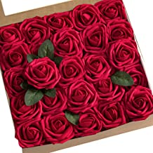 Ling's Moment Artificial Flowers 50pcs Real Looking Dark Red Fake Roses W/stem For DIY Wedding Bouquets Centerpieces Arrangements Party Baby Shower Home Decorations