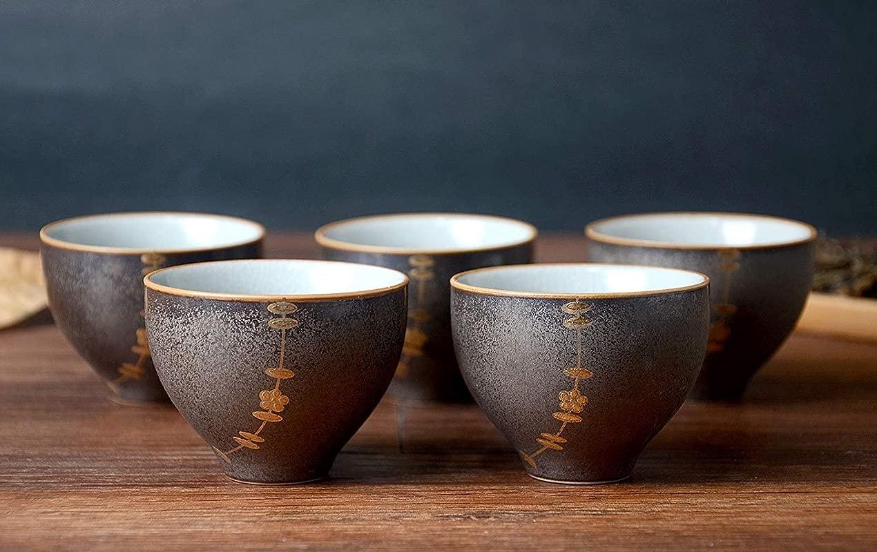 Hwagui Best Chinese Ceramic Tea Cups Set Of 5 50ml 1 7oz