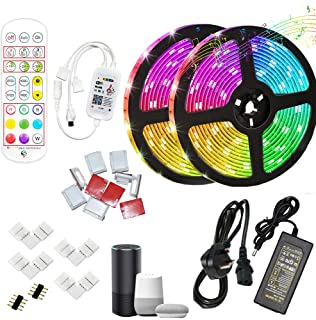 WIFI controlled 10 Meter led strips, SMD 5050 RGB LED Strip IP65 Waterproof, compatible with Alexa and google home with L ...