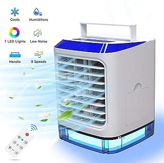 Mini Enfriador de Aire Portátil, 4 en 1 Acondicionador de Aire Móvil, Ventilador Humidificador Purificador, USB Air Cooler con Manija/3 Velocidades/7 Colores LED, para Hogar Oficina
