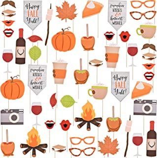 Happy Fall Yall Photo Booth Props Kit Thanksgiving Day Harvest Festival Pumpkin Party DIY Costumes Props with Wooden Sticks for Party Decorations, 52 Pieces
