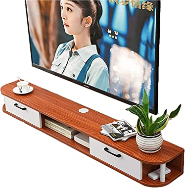 TV Cabinet, TV Lowboard, Floating Shelves, Floating TV Stand Component Shelf, 120/150/170cm Wall Mounted Media Console, Wood,