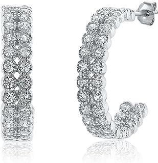 Montage Jewelry Women's Sterling Silver & Cubic Zirconia Double Hoop Earrings